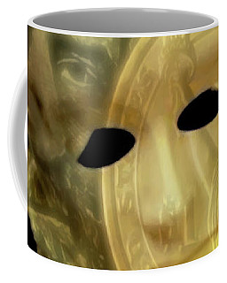 Coffee Mug featuring the digital art The Face Of Greed by ISAW Company