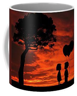 The Gift Girl Boy Balloons Sunset Silhouette Series   Coffee Mug