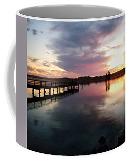 The Hollering Place Pier At Sunset Coffee Mug