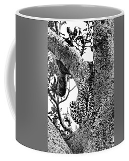Coffee Mug featuring the photograph The Leopard Sits In Wait In Black And White by Kay Brewer