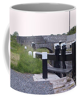 Coffee Mug featuring the painting The Locks At Cloondara, Co. Longford by Val Byrne