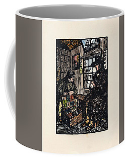 Coffee Mug featuring the painting The Sales Man by Val Byrne