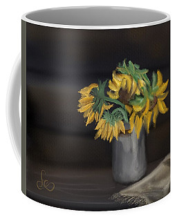 Coffee Mug featuring the painting The Sun Flowers  by Fe Jones