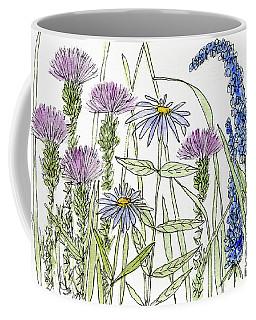 Thistle Asters Blue Flower Watercolor Wildflower Coffee Mug