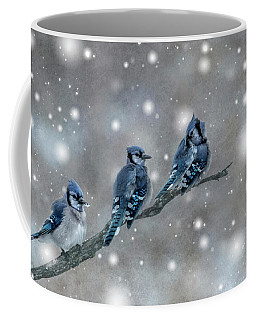 Three Blue Jays In The Snow Coffee Mug