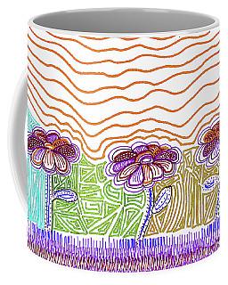 Three Flowers Orange And Purple Coffee Mug
