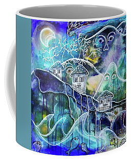 Three Houses On A Cliff Coffee Mug