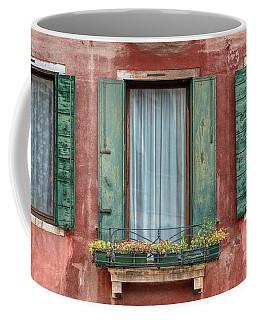Three Windows With Green Shutters Of Venice Coffee Mug