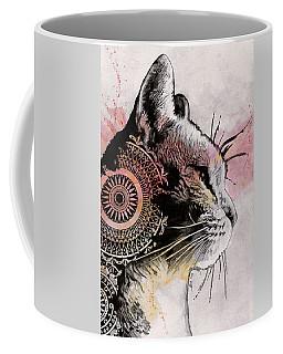 Tides Of Tomorrow - Mandala Tabby Cat Drawing, Animal Portrait Coffee Mug