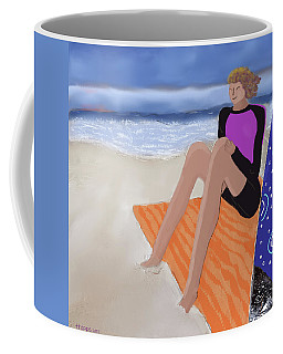 Coffee Mug featuring the digital art Toes In The Sand by Teresa Epps