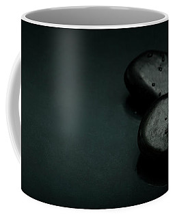 Top View Of Spa Stones And Flower Petal Over Black Background Coffee Mug