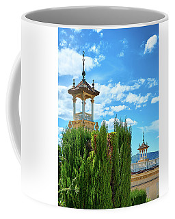 Coffee Mug featuring the photograph Towers And Blue Sky From Montjuic In Barcelona by Eduardo Jose Accorinti