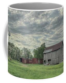 Train Cars And A Barn Coffee Mug