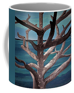Coffee Mug featuring the painting Tree And Beach by Joan Stratton