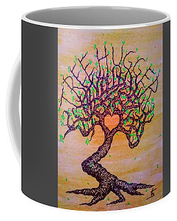 Coffee Mug featuring the drawing Tree Hugger Love Tree W/ Foliage by Aaron Bombalicki