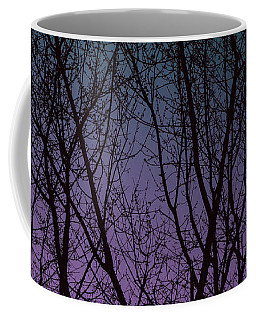 Tree Silhouette Against Blue And Purple Coffee Mug