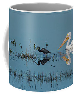Tricolored Herons And American White Pelicans Coffee Mug