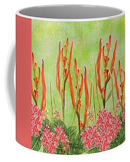 Tropical Floral Print Lime Green Batik Coffee Mug