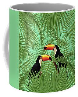 Tropical Forest - Toucan Birds - Tropical Palm Leaf Pattern - Leaf Pattern - Tropical Print 1 Coffee Mug