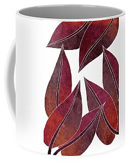 Tropical Leaf Illustration - Maroon, Red - Botanical Art - Floral Design - Modern, Minimal Decor Coffee Mug