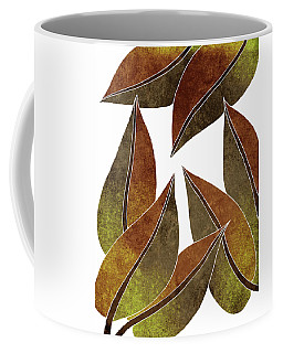 Tropical Leaf Illustration - Yellow, Brown - Botanical Art - Floral Design - Modern, Minimal Decor Coffee Mug