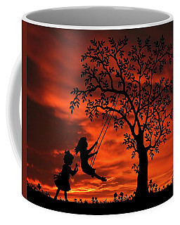 Try To Remember Girls With Swing Sunset Silhouette Series   Coffee Mug