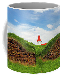 Turf House And Steeple - Iceland Coffee Mug