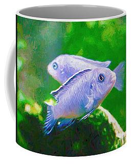 Coffee Mug featuring the digital art Twin Blue Zebra Cichlids Pen by Don Northup