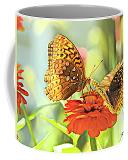 Two Butterflies On One Flower. Coffee Mug