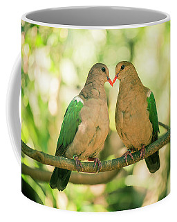 Two Colourful Doves Resting Outside On A Branch. Coffee Mug