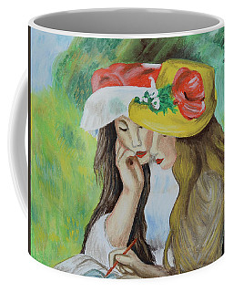 Coffee Mug featuring the pastel Two Girls After Renoir by Howard Bagley