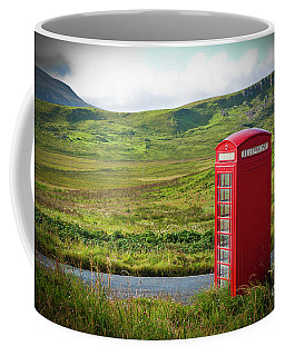 Typical Red English Telephone Box In A Rural Area Near A Road. Coffee Mug