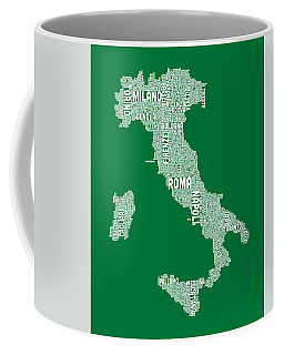 Typography Text Map Of Italy Map Coffee Mug