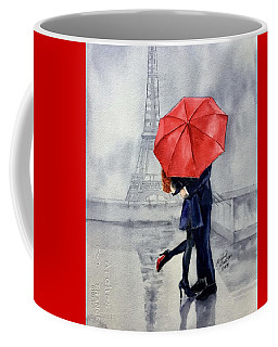 Coffee Mug featuring the painting Under A Red Umbrella by Michal Madison