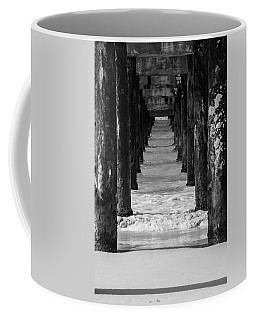 Coffee Mug featuring the photograph Under The Pier #2 Bw by Stuart Manning