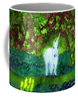 Coffee Mug featuring the painting Unicorn's Forest by Dobrotsvet Art