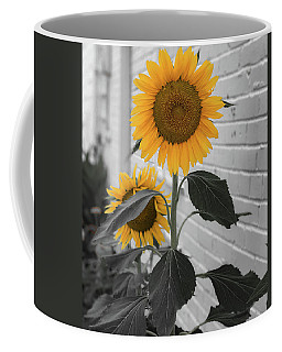Urban Sunflower - Black And White Coffee Mug