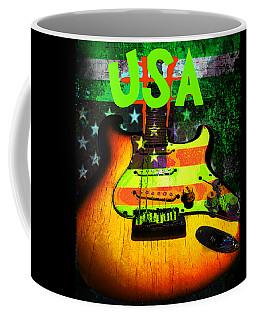 Usa Strat Guitar Music Green Theme Coffee Mug