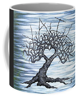 Coffee Mug featuring the drawing Vail Love Tree by Aaron Bombalicki