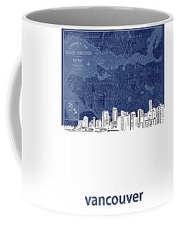 Vancouver Skyline Map Blue Coffee Mug