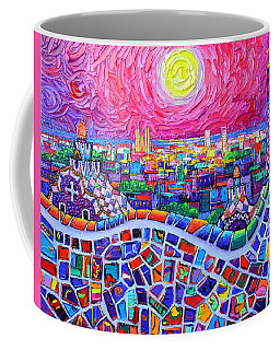 Vibrant Barcelona Night View From Park Guell Modern Impressionism Knife Painting Ana Maria Edulescu Coffee Mug