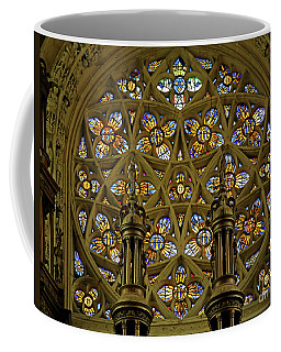 View Of The Rose Window With Suns And Monograms Of Christ And The Virgin, Eglise Notre Dame, Caudebec-en-caux, France Coffee Mug