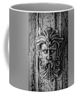 Viking Mask On Old Door In Black And White Coffee Mug