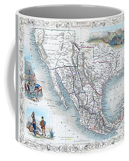 Vingage Map Of Texas, California And Mexico Coffee Mug