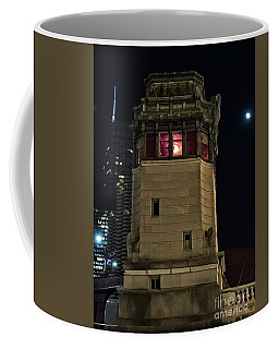Vintage Chicago Bridge Tower At Night Coffee Mug
