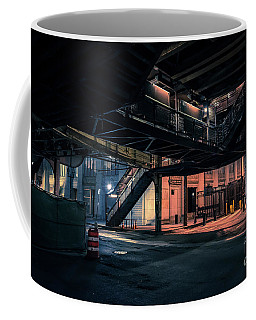 Vintage Chicago L Station At Night Coffee Mug