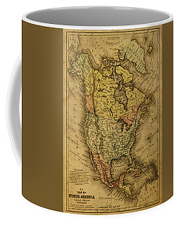 Vintage Map Of North America 1858 Coffee Mug