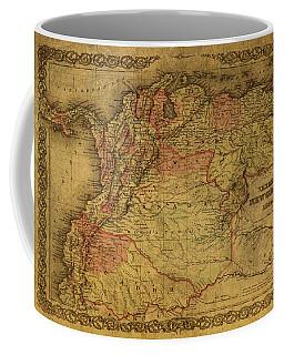 Vintage Map Of Venezuela Columbia And Ecuador 1855 Coffee Mug