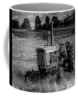 Coffee Mug featuring the photograph Vintage Tractor In Honeyville Bw by David King