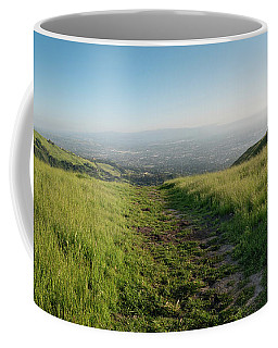 Coffee Mug featuring the photograph Walking Downhill Large Trail With Silicon Valley At The End by PorqueNo Studios